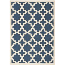 Courtyard Wharf Navy/Beige Outdoor/Indoor Area Rug