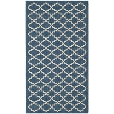 Courtyard Navy/Beige Outdoor Area Rug