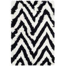 Ivory / Black Shag Rug