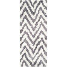 Ivory / Grey Shag Rug