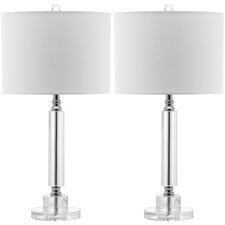 "Deco Column 24.5"" H Table Lamp with Drum Shade (Set of 2)"