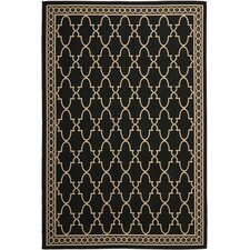 Courtyard Black/Sand Checked Outdoor Rug