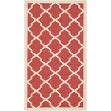 Courtyard Red & Bone Indoor/Outdoor Area Rug