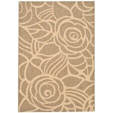 Courtyard Coffee/Sand Floral Rug