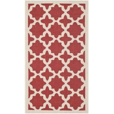 Courtyard Red/Bone Outdoor Area Rug