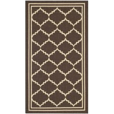 Courtyard Chocolate/Cream Indoor/Outdoor Rug