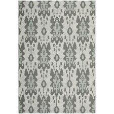 Courtyard Light Grey Anthracite/Aqua Weft Outdoor Rug