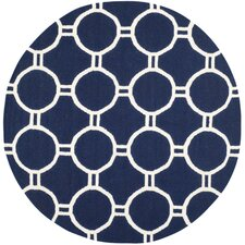 Dhurries Navy/Ivory Area Rug