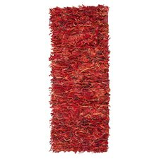 Leather Shag Red Rug