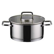 """2,5L Bratentopf zylindrisch """"Citrin"""" aus Edelstahl in Silber mit Deckel"""
