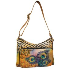 Twin Top East-West Premium Peacock Safari Hobo Bag