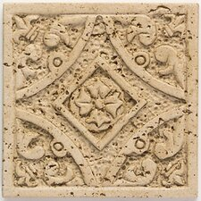 "Artistic Accent Statements 4-1/4"" x 4-1/4"" Filigree Insert in Travertine"
