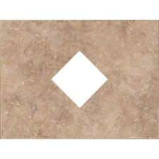 "Natural Bella Rocca 12"" x 9"" Decorative Diamond Cut-Out Tile in Roman Beige"