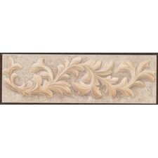"Natural Primabella 12"" x 4"" Cascading Leaves Decorative Listello in Latte"