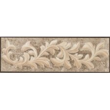 "Natural Primabella 12"" x 4"" Cascading Leaves Decorative Listello in Espresso"