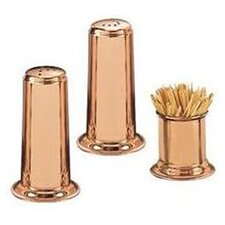 Solid Copper Salt & Pepper Set with Toothpick Holder