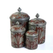 4 Piece Art Nouveau Decorative Canister Set
