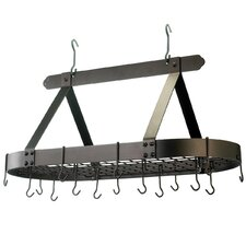 Oval Pot Rack with Grid and  Hooks