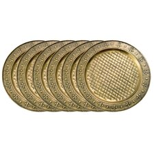 "<strong>Old Dutch International</strong> Antique Brass 13"" Charger Plate (Set of 6)"
