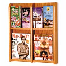 <strong>Wooden Mallet</strong> Four Magazine and Eight Brochure Oak and Acrylic Wall Display