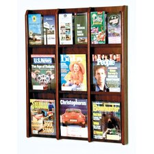 <strong>Wooden Mallet</strong> Nine Magazine and Eighteen Brochure Oak and Acrylic Wall Display with Optional Floor Stand
