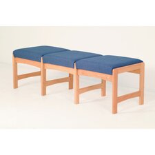 <strong>Wooden Mallet</strong> Dakota Wave Three Seat Bench with Designer Fabric