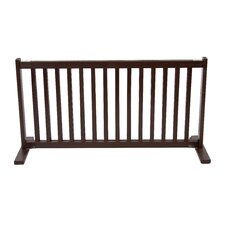 "20"" All Wood Large Free Standing Pet Gate in Mahogany"