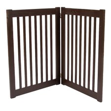 "Two 32"" Panel Free Standing Pet Gate in Mahogany"