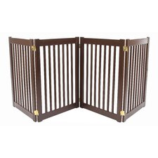 "Four 32"" Panel Free Standing Pet Gate in Mahogany"