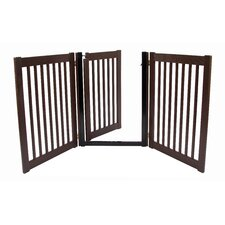 "32"" Walk Through 3 Free Standing Pet Gate in Mahogany"