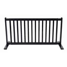 "20"" All Wood Large Free Standing Pet Gate in Black"
