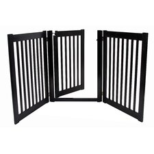 "32"" Walk Through 3 Free Standing Pet Gate in Black"