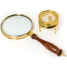 Brass Magnifier Telescopes Set: 3 Power, 90mm hand-held magnifier and 40mm table magnifier (Set of 2)