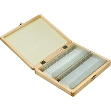 100 Prepared Microscope Slides with Wooden Case