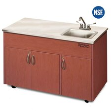 "Silver Advantage 48"" x 24"" Deep Basin Single Bowl Portable Handwash Station with Storage Cabinet"