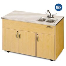 "Silver Advantage 48"" x 24"" Double Bowl Portable Handwash Station with Storage Cabinet"