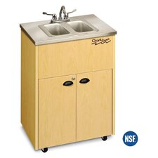 "Silver 26"" x 18"" Premier Portable Double Handwashing Station with Storage Cabinet"