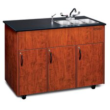 "Advantage 50"" x 24"" 3 Triple Bowl Portable Sink with Storage Cabinet"