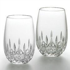 Lismore Nouveau White Stemless Wine Glass Pair 8 oz