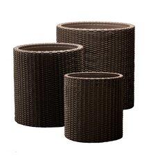 3 Piece Round Rattan Planter Set