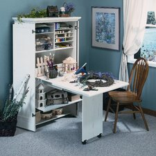 <strong>Sauder</strong> Harbor View Craft Armoire in Distressed Antiqued White