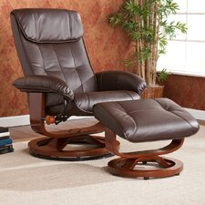 Carter Bonded Leather Recliner and Ottoman