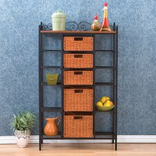 Buttonwood Scrolled Kitchen Storage Rack in Black w/ Brown