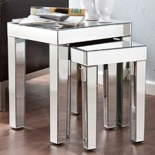 Bacall Mirrored Accent 2 Piece Nesting Tables