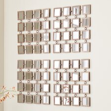 <strong>Wildon Home ®</strong> Haliwell Mirrored Grid 4 Piece Wall Panel Set