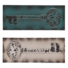 2 Piece Wolfson Vintage Key Wall Décor Set