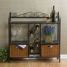Scrolled Bakers Rack w/ Wine Storage in Gunmetal Gray