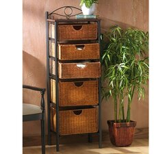Iron/Wicker Five Drawer Storage Unit