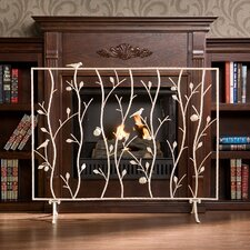 Bluewood Bird and Branch Metal Fireplace Screen