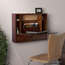 Grants Wall-Mount Laptop Desk in Brown Mahogany